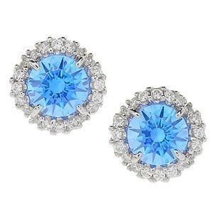 Sterling Silver Blue CZ Stud Earrings